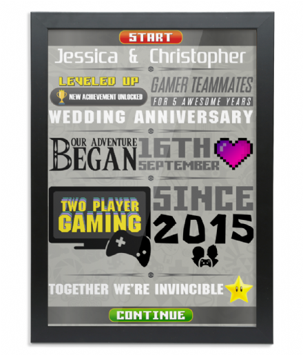 Gamers Gaming Couple Anniversary - Wedding or Special Date Personalised Framed A3 Print